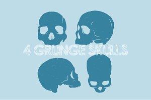 4 Grunge Vector Skulls