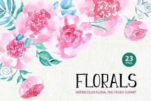 Watercolor flowers, 23 png clipart