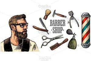 Set equipment for BarberShop hipster
