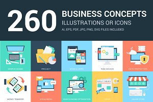 260 Business Concept Illustrations