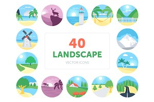 40 Landscapes Vector Icons