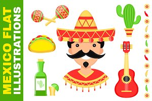 Mexico flat illustration set