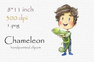 Digital clipart, chameleon