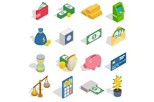 Money Icons set, isometric 3d style