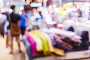 Blurred people shopping