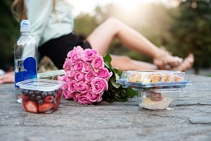 Couple having romantic picnic date