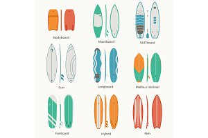 Surfing Boards Set