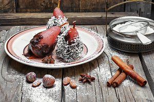 Dessert of pears in chocolate
