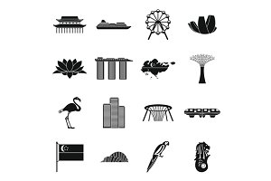 Singapore icons set, simple style