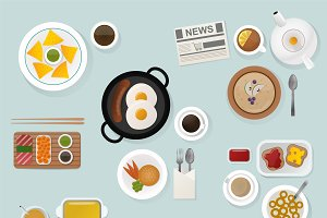 Breakfast flat top view set vector