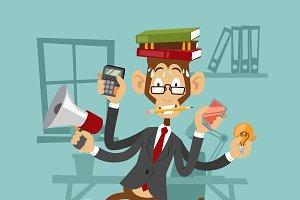 Vector monkey business man stress