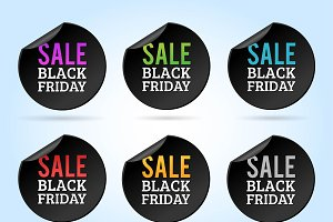 Black Friday sale badges vector set