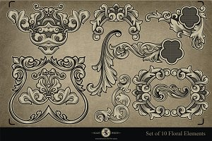 Set of 10 Floral Elements