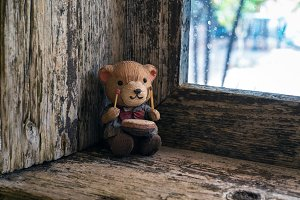 teddy on the windowsill