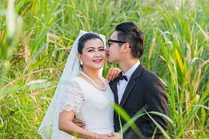 Asian couple groom and bride