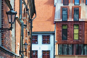 Lantern and window in Old Town Riga
