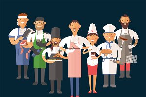 Vector cooking chefs