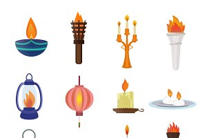 Flat style candles vector