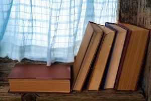 books on the windowsill