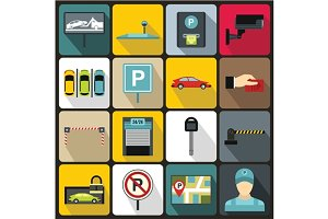 Car parking icons set, flat style