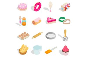 Bakery set icons, isometric 3d style