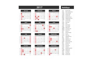 calendar holidays usa 2017