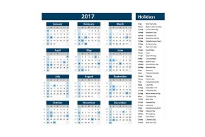 blue calendar holidays usa 2017