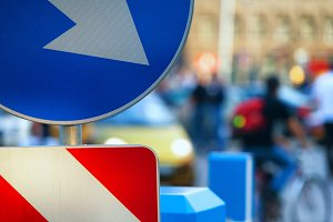 Traffic signs on the street