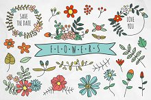 Hand drawn flowers and wreaths