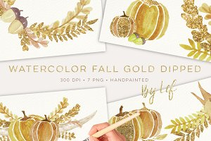 Fall Gold Dipped Watercolor Graphics