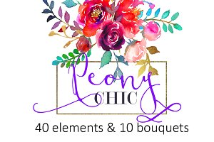 Purple Watercolor Flowers Clipart