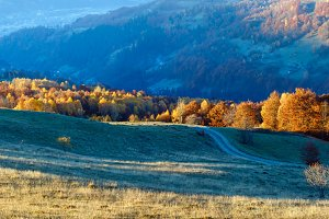 Carpathian mountain autumn panorama.