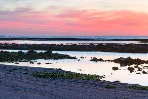 Sunset ocean view from beach.