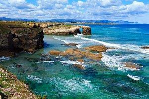 Cantabric coast summer landscape.