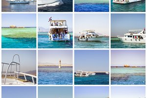 Egypt Collage, tourist boat trip on Red sea, Sharm El Sheikh