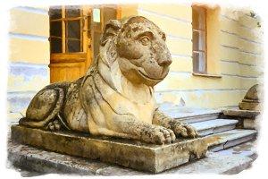 Pavlovsk, Russia. Sculpture of a reclining lion