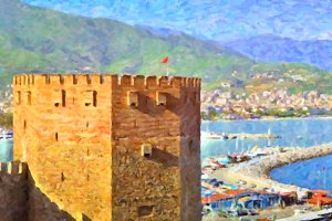 Alanya's port and Kizil Kule, Turkey