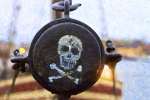 Pirate label. The skull and crossbones painted on the side of the mast of the ship