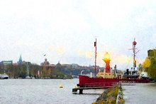 Moored in Stockholm berth tug