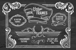 Vintage Hand-drawn Frames, Vignettes