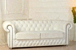 White leather sofa in Christmas decorations