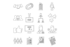 Human resource management icons set
