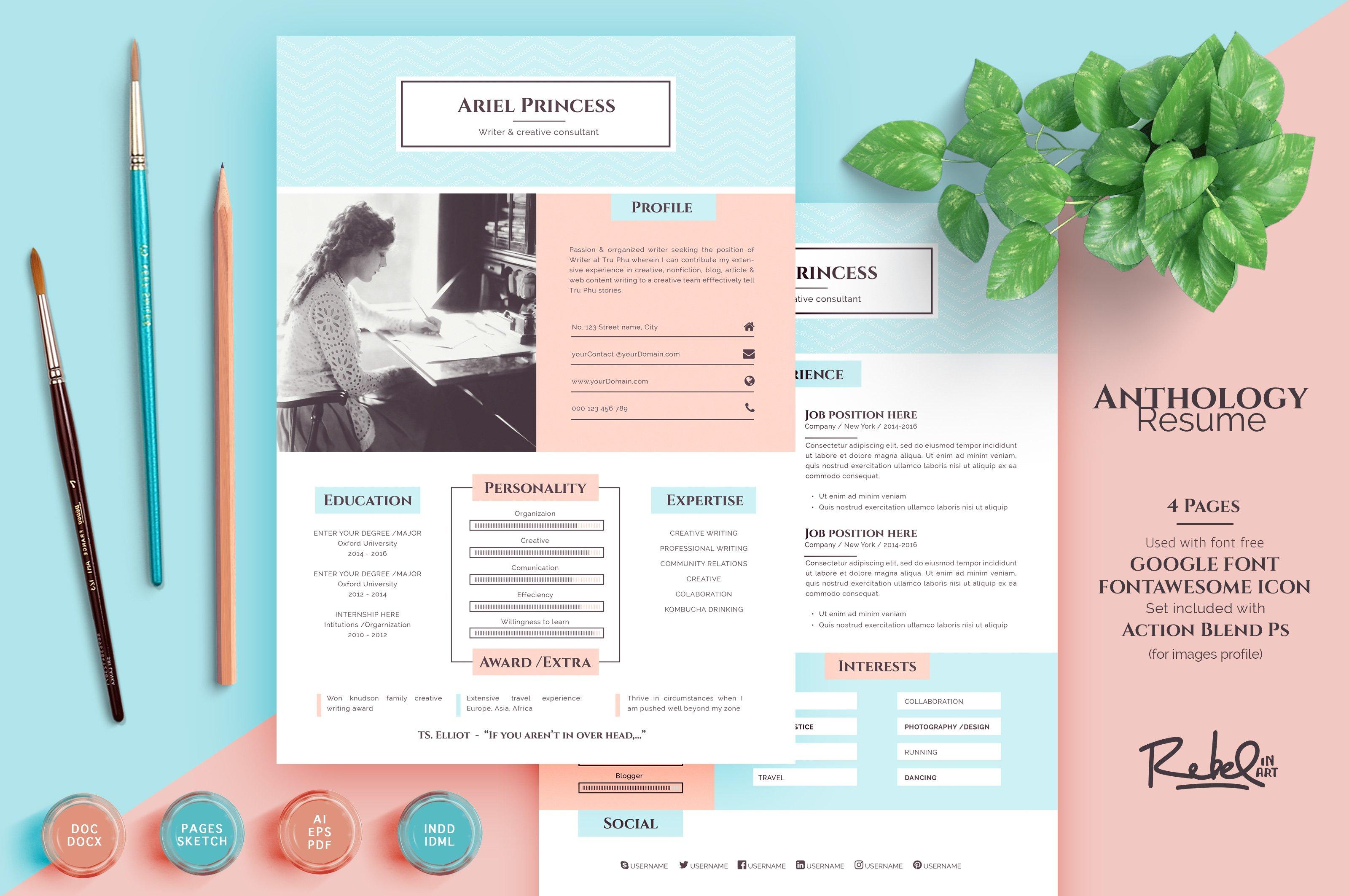 Anthology Resume Cv Sketch Support Resume Templates