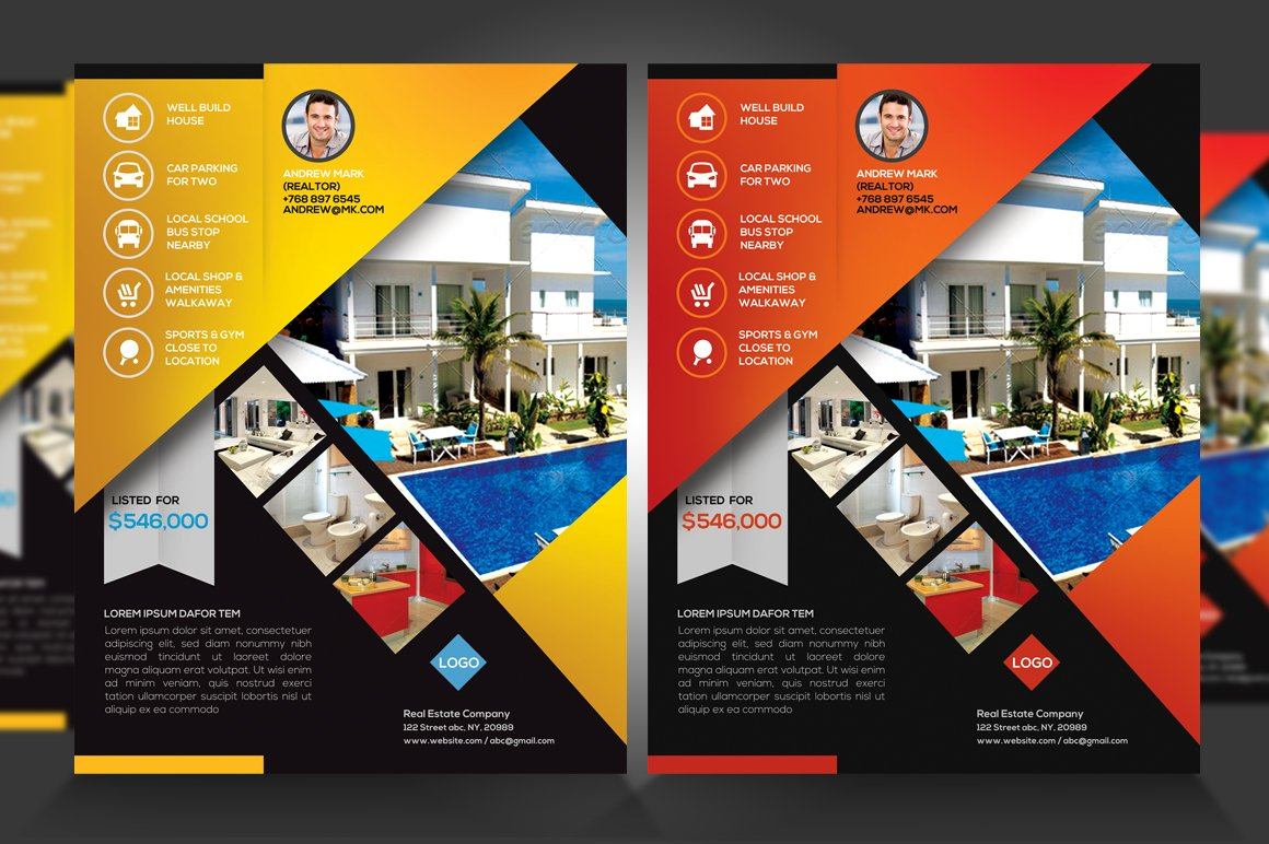 Real Estate New Listing Flyer V1 Flyer Templates Creative Market