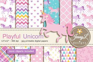 Unicorn Digital Papers & Clipart