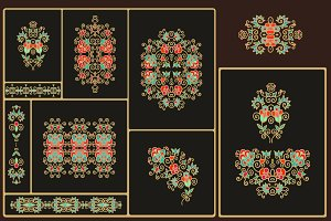 Set of decorative floral elements