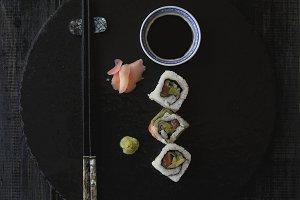 Sushi , chopsticks and sauce, selective focus