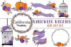 Halloween Wreaths Clip Art Set