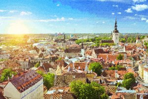 Sunny summer day in Tallinn, Estonia
