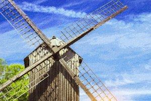 Ancient windmill of wood. Tallinn, Estonia